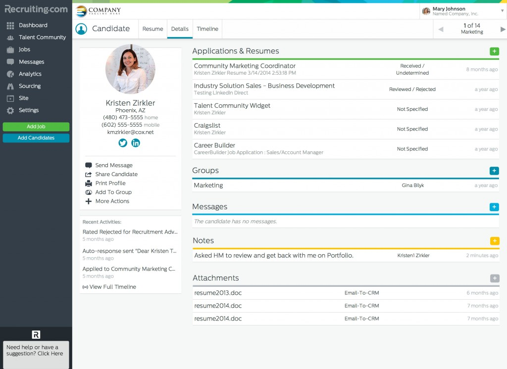 CRM Candidate Details - Attachments, Recruiter Notes, Messages, and Applications
